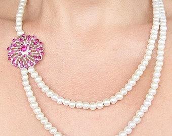 Bridal Jewelry Wedding Jewelry Pearl Rhinestone Necklace Pink Wedding Necklace Crystal Necklace Bridesmaid Gift