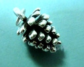 Pine Cone Charm, Huge 3D - 925 Sterling Silver Large Pine Cone Charm- 20mm, COUPON SALE