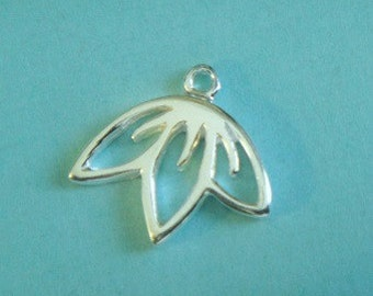 Sterling Silver CHERRY BLOSSOM Charm Drop, 925 Outline Charm Pendant, 1 Pc, 8X10mm