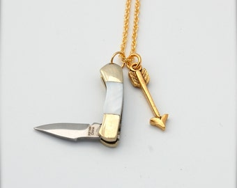 Tiny Miniature Working Penknife Pocketknife and Gold Arrow Charm Necklace