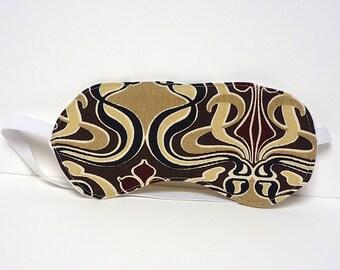 GROOVY Sleep Mask or Eye Mask Handmade tan, burgundy & black