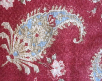 Beautiful Wedgewood Blue and Red Paisley Roman Shades