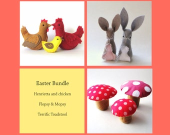 DIY Easter Bundle 3 pdf patterns - Henrietta Hen, Flopsy & Mopsy and The Terrific Toadstool --INSTANT DOWNLOAD--