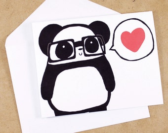 Nerdy Panda Love Greeting Card
