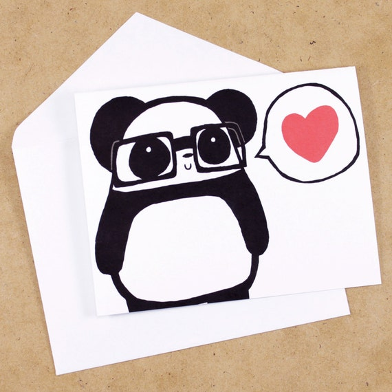 Nerdy Panda Love Greeting Card