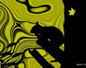 Squirrel Art, Digital Photomontage, Woodland Animal Silhouette, Olive Green Black, Wildlife Home Decor, Wall Hanging, Giclee Print, 8 x 10