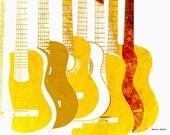 Yellow Guitars POP Art, Wall Hanging, Stringed Music Instrument, Monochromatic Digital Print, Entertainment Home Decor, Giclee Print, 8 x 10