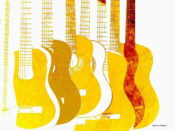 Yellow Guitars POP Art, Wall Hanging, Stringed Music Instrument, Monochromatic Digital Print, Entertainment Home Decor, Giclee Print, 8 x 10