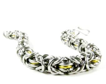 Yellow Byzantine - Chainmaille Bracelet