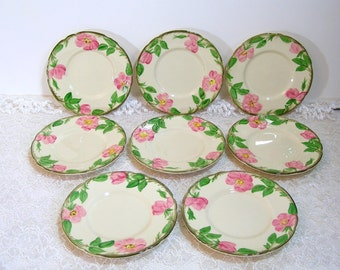 Franciscanware Desert Rose Bread Plates, Set Of Eight, 1970s