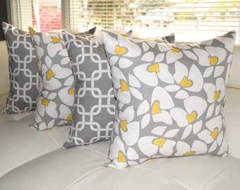 Premier Prints Gotcha Chain Link Storm Gray and Helen Storm Gray and Yellow Throw Pillows - Set of 4 - Free Shipping