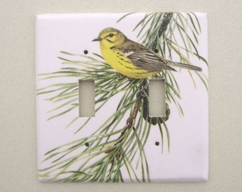 Double yellow bird on pine bough light switch cover switchplate