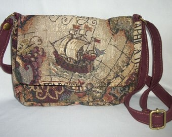 Purse Small Flap Shoulder Bag Crossbody Bag Tapestry Old World Map Custom Choice of Front Flap Design