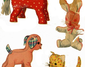 Vintage Stuffed Toy PATTERN 4915 Four Animals Cat - Dog - Horse - Bunny Rabbit a 1950s design