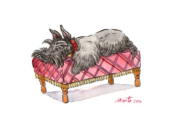 Scottie on couch original watercolour painting