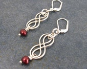 Earrings, Celtic, Infinity Knot, Pearl, Burgundy Red, hand made, Dangle, birthday, Anniversary, Mothers Day, Gift