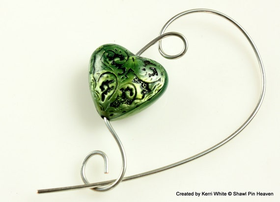 Green Gothic Heart Shawl Pin, Scarf Pin, Brooch - Heart Pin, Jewelry Brooches, Scarf Accessory, Shawl Accessory, Gift for Knitter