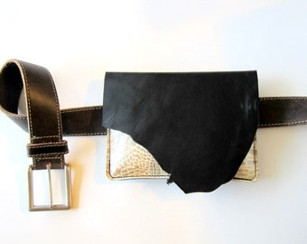 SALE - LEATHER Hip Bag Purse Fanny Pack - Raw and Rustic with Raw Edge