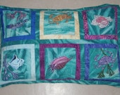 Quilted Pillow Cover Handmade Handpainted Art Quilt Under the Sea Creatures