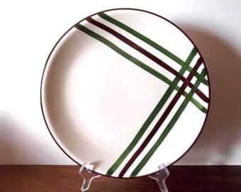 "Vintage ""Bel-Air""  Vernonware California Ceramic Platter, Vernon Kilns, White, Brown, Green"