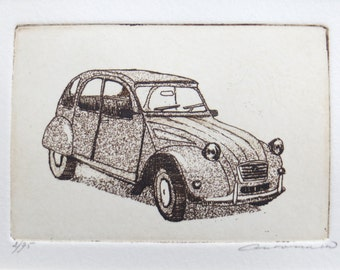 original etching and aquatint of a Citroën 2CV car - deux chevaux-vapeur