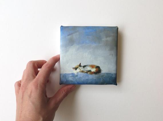 mini canvas print of a sleeping cat