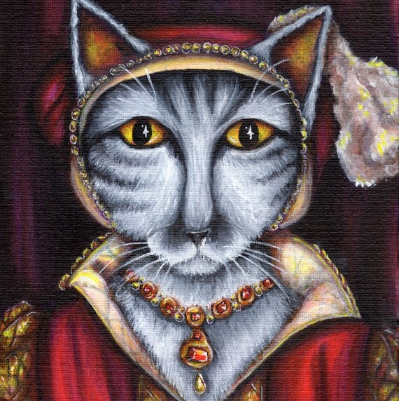 Tudor Cats, Catherine Parr, King Henry VIII, Silver Tabby Cat 5x7 Art Print