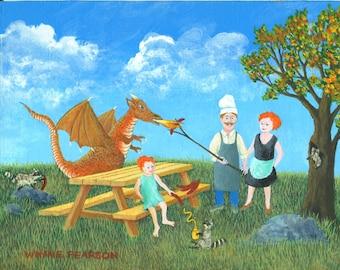 Dragon Art Print   raccoon art print   girl art print    picnic art print   party park   cookout orange
