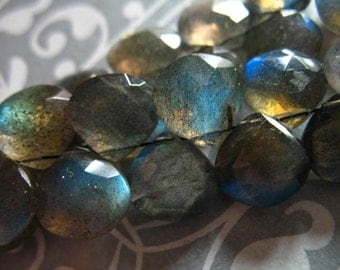 LABRADORITE Heart Briolettes Beads, Luxe AAA, 6 pcs, 9-10 mm, Gray, blue flashes neutral brides bridal something blue wholesale