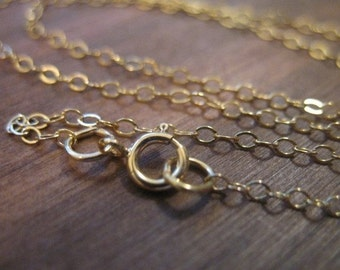 """Shop Sale..1 pc, 16 17 or 18"""" inch, Gold Filled Chain, 1.4 mm 14k Gold Fill Flat Cable Chain, FINISHED Necklace, wholesale g1.16 g1.18 g1.17"""