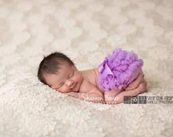 Baby Girl Photography Props, Summer Purple Chiffon Baby Girl Diaper Cover, Bow, Newborn Photo Props, Bloomers, Girl Props, Ruffles, Ribbon