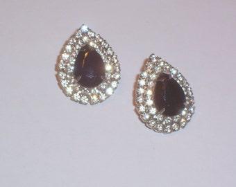Rhinestone and Black Stone Earrings - Pierced
