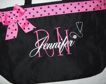 Nurse RN Bag or LPN Tote Bag Personalized with stethoscope  Embroidered  Great Gift Name with Large Initial  Ribbon and bow.