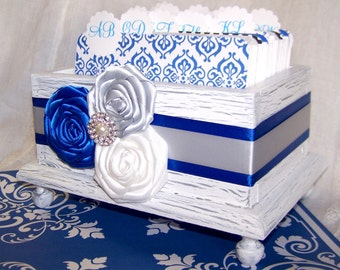 GUEST Book Box / Advice Box / Royal Blue Guest Book / Wedding Guest Book / Cobalt and Silver / Royal and Gray / White Card Box / Rustic Box