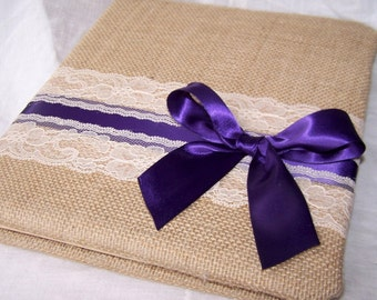 BURLAP GUEST Book, Photo Spot, Rustic Wedding, Dark Plum, Ivory Lace, Advice Book,Custom colors available