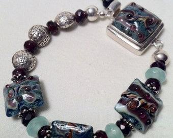 Lampwork Bead, Garnets and Sterling Silver Bracelet