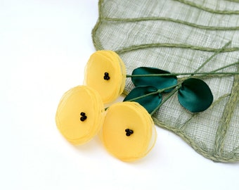 Fabric flowers with stems, handmade floral stems, fabric flowers, vase fillers - set of 3 pcs- YELLOW (as seen in BRIDES magazine)