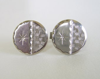Vintage Silver Engraved Round Cuff Links Mid Century