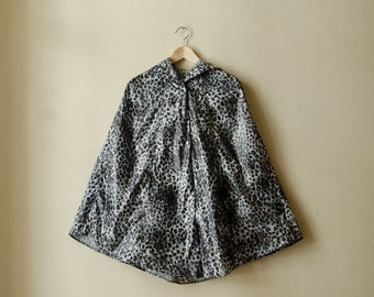 Leopard Raincoat, Womens Rain Cape with Hood, Available in Brown and Grey Animal Print