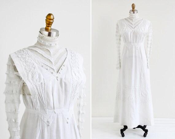 Antique Edwardian Dress / 1900s Wedding Dress / By
