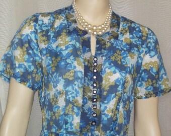 Vintage 1940's Blue Floral Women's Day Dress Medium Large