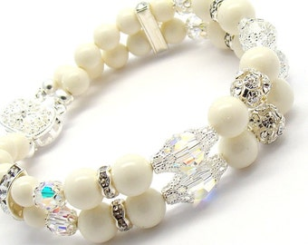 Ivory Pearls Bracelet, Choose Your Color,Double Strand Swarovski Crystal Pearls, Silver Rhinestones Bridal Bridesmaids Jewelry Ivory Cream