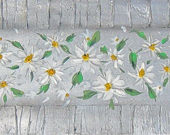 """Large Painting Abstract Palette Knife Textured Daisy Floral Painting 36x12x1.5"""" by Ann"""