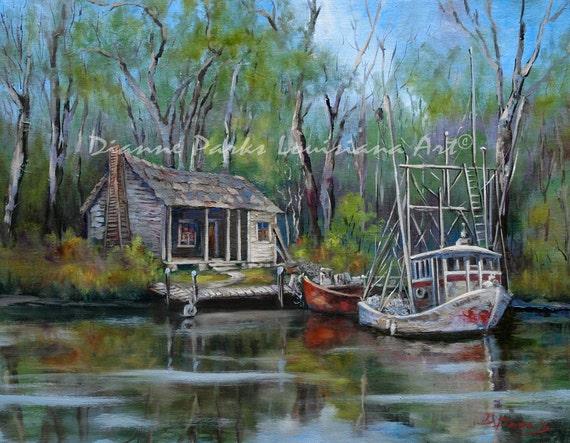 Bayou shrimper shrimp boat louisiana bayou by dianneparksart for Louisiana fishing camps