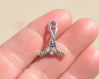 10  Silver Hockey Stick Charms SC2885