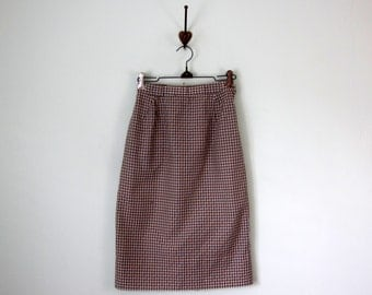 60s skirt / gingham check tan & white cotton high waist fitted pencil (xs - s)