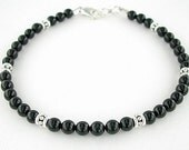 Black Onyx Anklet with Sterling Silver Accents and Clasp - Black Ankle Bracelet in Small to Plus Sizes, 9-inch  to 14-inch - Your Choice