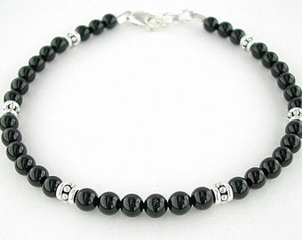 Black Onyx Anklet with Sterling Silver Accents and Clasp in Small to Plus Sizes, 9 to 14 inches - Your Choice