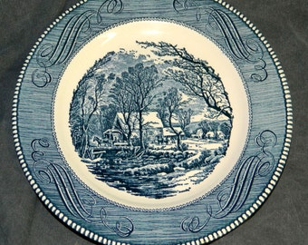 Dinner Plate Vintage Currier & Ives Old Grist Mill Americana Blue White Porcelain Ironstone Royal China on Ironstone CrabbyCats Crabby Cats