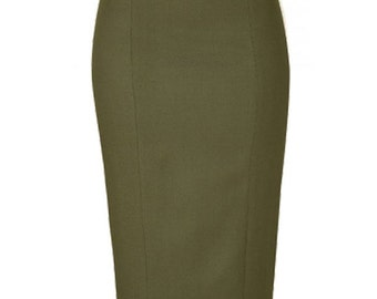 Wool  Blend Wiggle Pencil Skirt